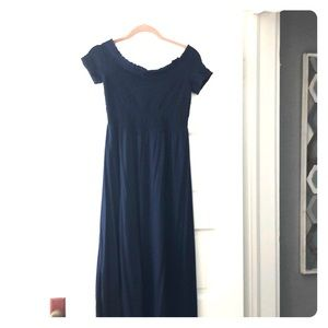 Navy ruched tip dress